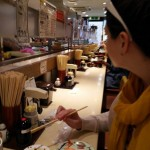 Conveyer belt sushi.
