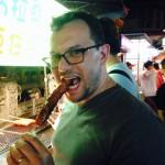 Tex tries boar meat sausage...again.